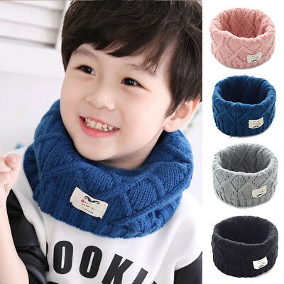 Winter Kid Cute Cotton Baby Scarf Children Girls Boy Gift Kintted Wool O-Scarves