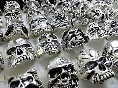 100 silver Skull ring punk alloy metal men's women rings wholesale jewelry