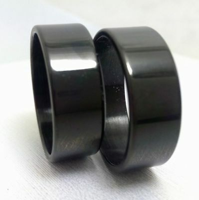 100 Plain Band Black  8mm Stainless steel men's women fashion rings wholesale