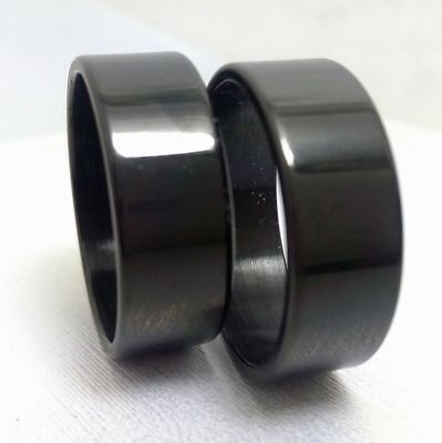 50 Plain Band Black  8mm Stainless steel men's women fashion rings wholesale