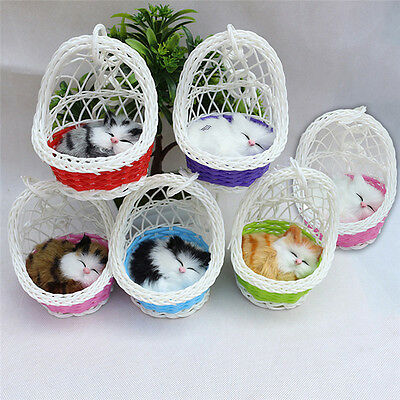 Cute Simulation Cat Animal Sounding Toys Basket Kitten Plush Dolls Children Gift