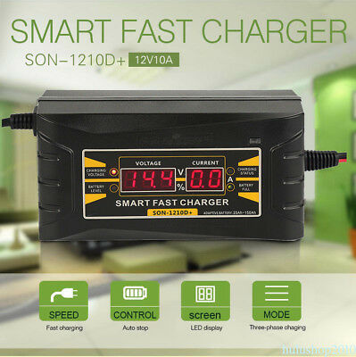 Top 12V 10A Smart Car Motorcycle Battery Charger LCD Display US Plug