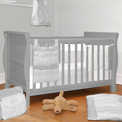 4Baby 3 In 1 Grey Sleigh Cot Bed & Baby Cotbed Sprung