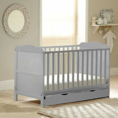 New 4Baby Grey Wood Classic Cotbed With Storage Drawer & Foam Mattress