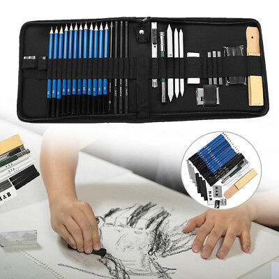 Drawing Sketch Pencil Set Charcoal Eraser Art Craft Painting Sketching Kit 32Pcs