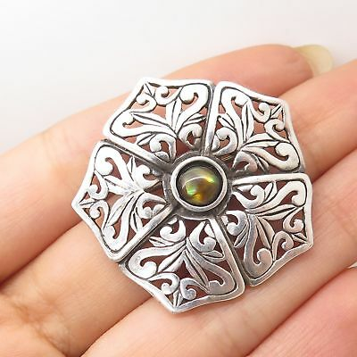Signed 925 Sterling Silver Abalone Shell Doublet Floral Pin Brooch
