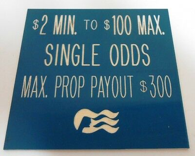 Casino Table Limit Rules Sign Gaming Cards Single Sided Blue