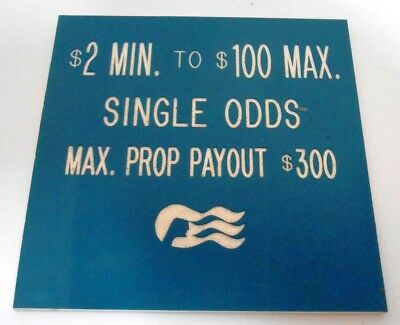 Casino Table Limit Rules Sign Gaming Cards Double Sided Blue Red