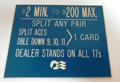 Casino Table Limit Rules Sign Gaming Blackjack Cards Single Sided Blue