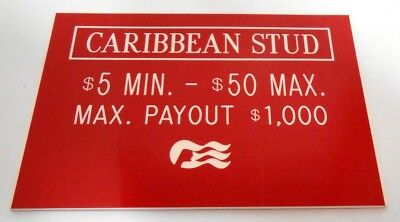Casino Table Limit Rules Sign Gaming Caribbean Stud Cards Single Sided Red