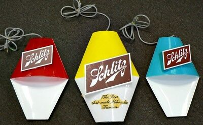 Set Of Three New Plastic Schlitz Beer Signs In Original Box With Papers
