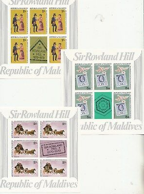 Maldives: 1979 Sir Rowland Hill set of 5 x stamp Sheetlets. High retail. MUH
