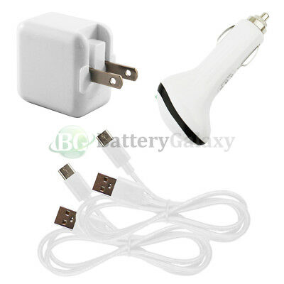 2 USB Type C Cord+Car+RAPID Wall Charger for Motorola Moto Z / Force /Play Droid