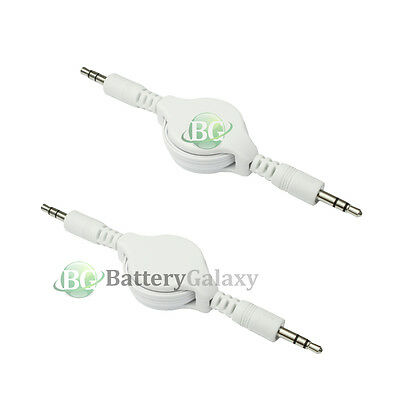 2 Pack Fenzer White Retractable 3.5mm AUX Auxiliary Cable Cord for Apple iPhone iPod Touch Nano Tablet Cell Phone MP3