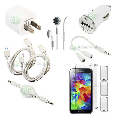 10pc 2X USB Cable+Wall/Car Charger+Headset for Phone Samsung Galaxy S5 100+SOLD