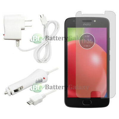 NEW Wall+Car Charger+LCD HD Screen Protector for Android Phone Motorola Moto E4