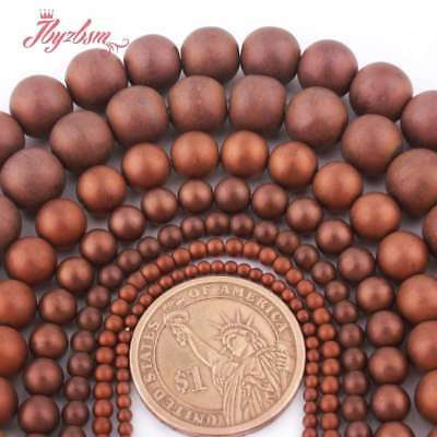 "Round Frosted Matte Brown Hematite Stone Loose Bead for Jewelry Making 15""2-10mm"