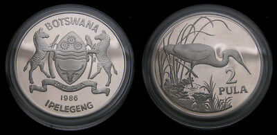 World Wildlife Fund Botswana 1986 2 Pula .925 .841 Oz. ASW KM#17a
