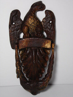 Rare Vintage 1970s EAGLE Regal CAST IRON Heavy DOOR KNOCKER Outside Home Decor