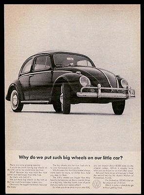 1962 VW Volkswagen Beetle classic car photo Why Such Big Wheels? 11x8 print ad