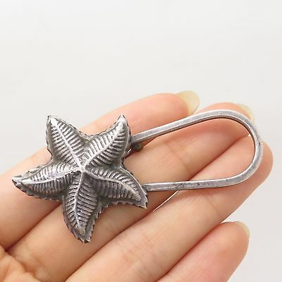 Vtg Mexico 925 Sterling Silver Large Starfish Pin Brooch Pendant