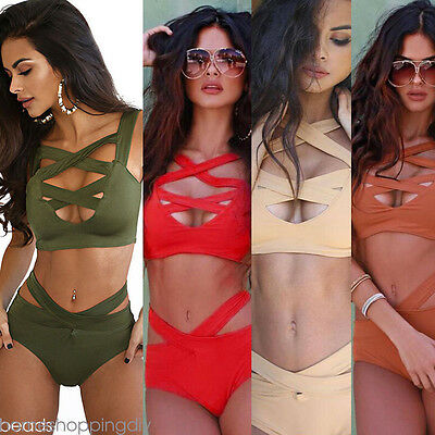 1Set Women Lady Bandage Bikini Set Push-up Padded Bra Swimsuit Sexy Swimwear