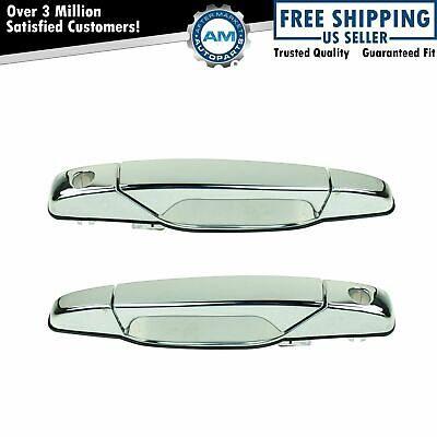 Front Exterior Outside Chrome Door Handle Pair Set of 2 for Chevy GMC SUV Truck