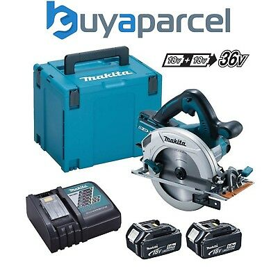 Makita DHS710ZJ Twin 18V 36V 185mm SCIE CIRCULAIRE LXT + 2x 5.0Ah Ah, Chargeur +