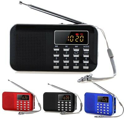 Mini Digital Portable AM FM Radio Speaker Telescopic Antenna Earphone TF AUX USB