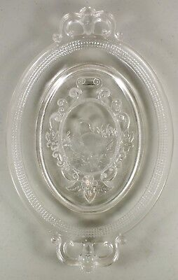 "1882 Canton Glass Swan With Mesh 12.5"" Bread Plate / Platter ~Man's Head Motif"
