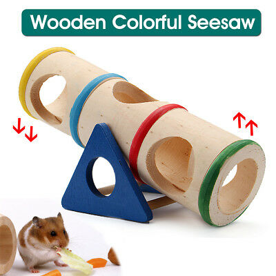 Wooden Seesaw Pet Cage House Hide Colorful Play Toy For Hamster Rat Mouse Mice
