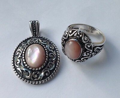 QVC South Western Silver Carolyn Pollack Ring and Pendant