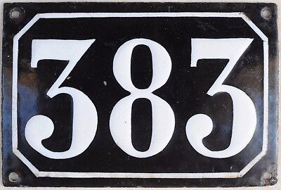 Large old black French house number 383 door gate plate plaque enamel metal sign