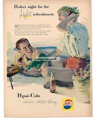 1957 PEPSI-COLA Cookout On The Beach At Night art Vtg Print Ad