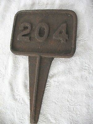 Old antique cast iron No 204 marker post plaque sign house number railway etc