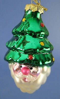 Santa Claus Face Glass Christmas Ornament Thomas Pacconi Museum Series Tree Hat