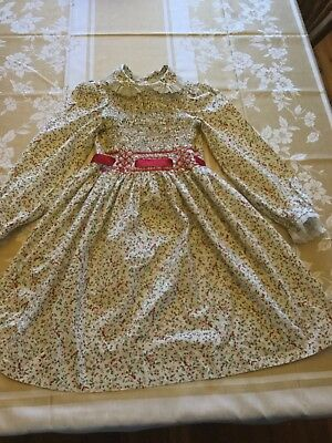 Vintage Polly Flinders Dress ,Size 10 Hand Smocked Holiday / Christmas Cardinals