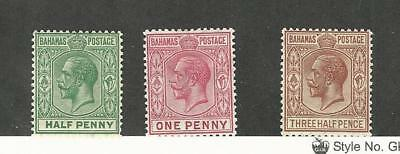 Bahamas, British, Postage Stamp, #70, 72, 73 Mint Hinged WMK4, 1921-24