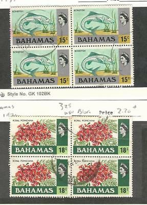 Bahamas, British, Postage Stamp, #324-325 Used Blocks, 1971 Fish, Flower