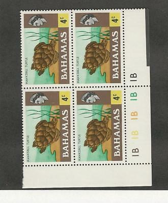 Bahamas, British, Postage Stamp, #316 Mint NH Block, 1971 (P) Turtle