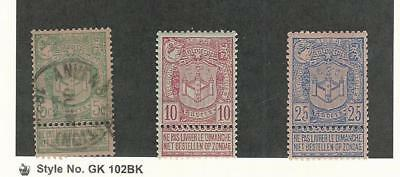 Belgium, Postage Stamp, #76 Used, 77-78 Mint Hinged, 1894