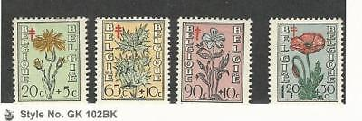 Belgium, Postage Stamp, #B468-B471 Mint NH, 1949 Flowers