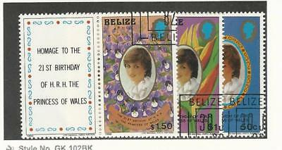 Belize, Postage Stamp, #621-623 Used With Tabs, 1982 Princess Diana