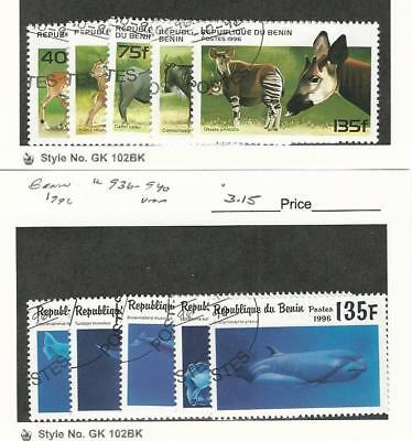 Benin, Postage Stamp, #930-4, 936-40 Used, 1996 Animals, Whales