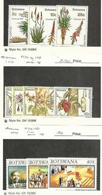 Botswana, Postage Stamp, #143-4, 146, 174-6, 178-81 Mint NH, 1975-7 Flowers