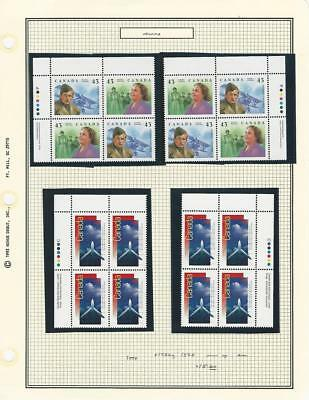 Canada, Postage Stamp, #1526a, 1528 Mint NH Blocks (p) 1994 Airplanes