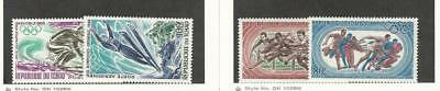 Chad, Postage Stamp, #C40-C41, C45-C46 Mint NH, 1968-9 Olympics Sports