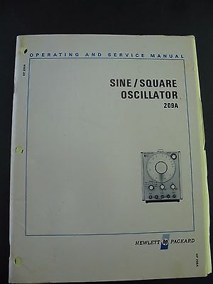 Operating and Service Manual hp 209A Sine  / square Generator Hewlett Packard