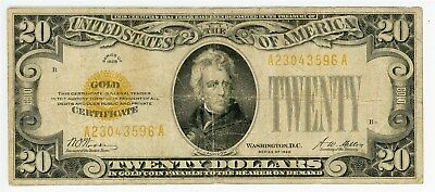 Fr. 2402 $20 1928 Gold Certificate VG - Hole