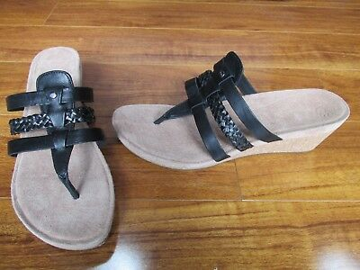 037edaceda NEW UGG Maddie Cork Wedge Thong Sandals WOMENS Sz 10 Black 1006764 $110.00